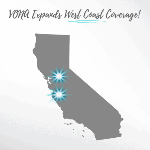 """The shape of the state of California is shown in gray, with two starburst logos over the areas of Brentwood and Salinas. The text is shown above, """"VONA Expands West Coast Coverage."""""""