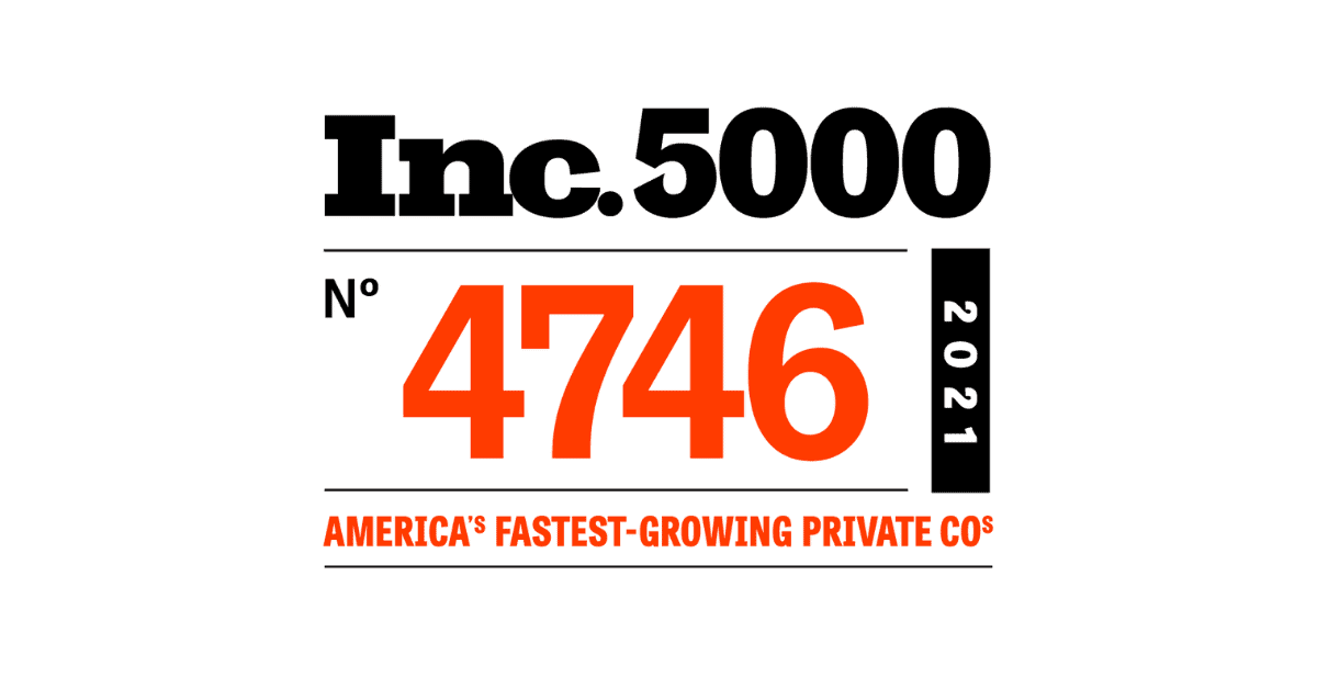 """A white background is shown with the red and black Inc. 5000 logo. Inc. 5000 is at the top with the number rank No. 4746 below in red. Beside the rank the year reads 2021. Below it all is the text """"America's Fastest-Growing Private Cos."""" in red."""