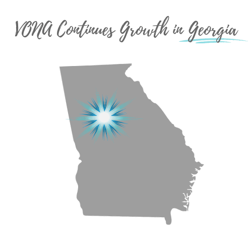 """The shape of the state of Georgia is shown in gray, with a starburst logo over the Northwest Atlanta area. The text is shown above, """"VONA Continues Growth in Georgia"""" with the word Georgia underlined."""