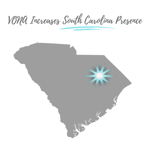 """The shape of the state of South Carolina is shown in grey, with the text above it """"VONA Increases South Carolina Presence."""" A teal colored starburst is shown over the city of Florence area of the state graphic."""